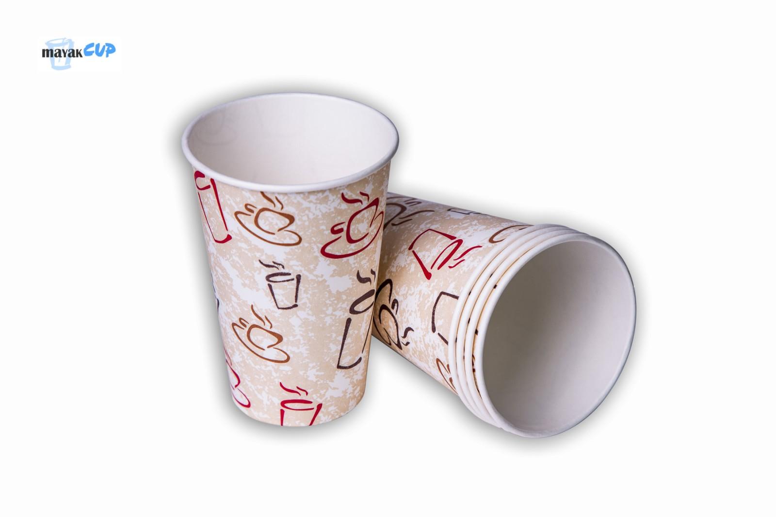 Бумажный стакан 330 мл «Чашки» 253 г/м2
