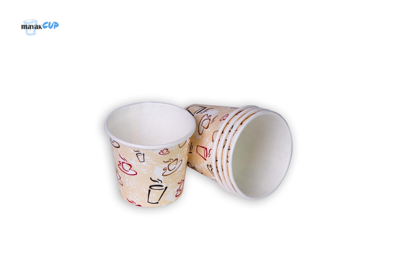Бумажный стакан 110 мл «Чашки» 213 г/м2