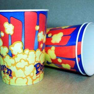 """Паперовий стакан для попкорну 1000 мл """"Попкорн синій"""" 224 г/м2"""